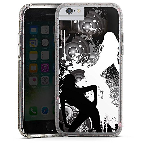 Apple iPhone 6 Plus Bumper Hülle Bumper Case Glitzer Hülle Kreise Silhouette Woman Bumper Case Glitzer rose gold