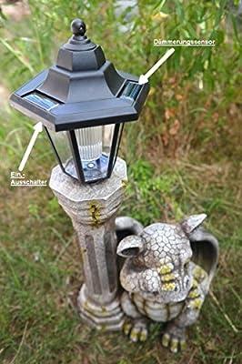 schämt Solar Lantern with Baby Dragon Figure Garden Ornament