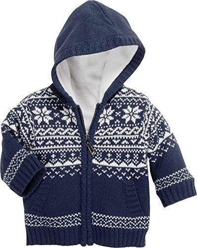 Schnizler Unisex Baby Strickjacke Jacke Norweger, Fleece Gefüttert, Blau (Marine 11), 86