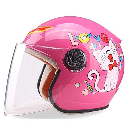 QIULAO Kinderhelm, Elektroauto-Helm Motorrad Cartoon Junge Mädchen Leichte Fahrradhelm Sommer Sonnenschutz Vier Jahreszeiten Universal (Color : Cat)