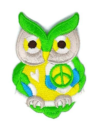 Grün Peace Owl Cartoon bestickt Nähen Eisen auf bestickte Applikation Craft handgefertigt Baby Kid Girl Frauen Tücher DIY Kostüm Zubehör