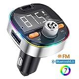 Transmisor FM Bluetooth V5.0, Adaptador de Radio de Coche 2 USB Puertos, Carga...