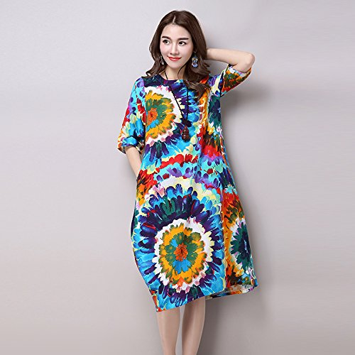 XIU*RONG Frühling Und Sommer Weiblich Geblümten Kleid Sommerkleid Lockerer Baumwolle Bettwäsche Xl Blau