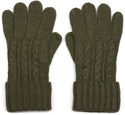 styleBREAKER warme Handschuhe mit Zopfmuster und doppeltem Bund, Winter Strickhandschuhe, Damen 09010009, Farbe:Oliv