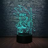 shiyueNB Goku Monkey USB LED Lampada 7 Dragon Ball Lampadina Colorata Mood Home AC trasformatore Luci notturne Giocattolo per Bambini Camera da Letto per Bambini Decor
