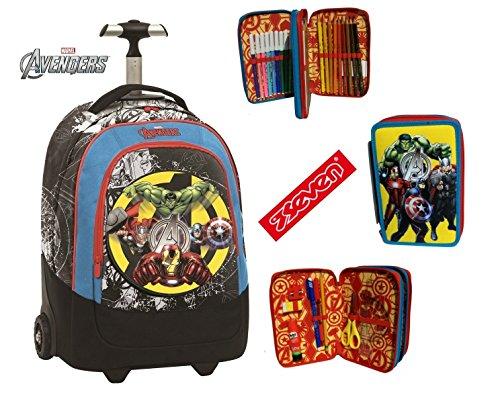Trolley sj avengers seven zaino big trolley scuola tempo libero school pack con astuccio 3 scomparti