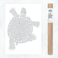 Schildkröte Poster zum Ausmalen für Erwachsene und Kinder mit Kristallmustern und Diamanten