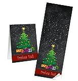 Neu 2018: 25 Stück grün rot schwarz WEIHNACHTSBAUM Aufkleber FROHES FEST 7 x 21 cm Weihnachtsaufkleber Weihnachten Sticker - Verpackung Weihnachtsgeschenke Geschenkaufkleber Banderole