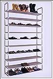 Schuhregal XXL für 50 Paar Schuhe 100x29x175cm - Elegante Verbindung von Stahl und Stoff