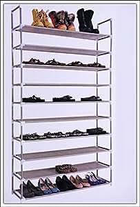 Range-chaussures pour 50 paires de chaussures 100x29x175cm XXL - combinaison élégante de l'acier et Étoffe