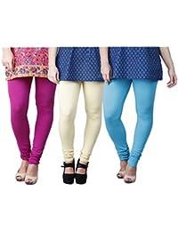 Limeberry Women's Cotton Legging Pack of 3 (LB-3PCK-LEGG-CMB-3_Multicolor)