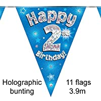 Happy 2nd Birthday Blue Holographic Foil Party Bunting 3.9m Long 11 Flags by Oak Tree