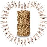G2Plus de madera Foto Clips 100pcs la ropa con 300pies Natural Yute Twine perfecto para Diy amante