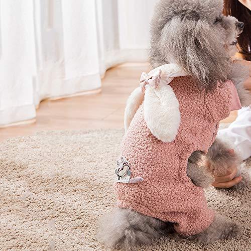 AUED Halloween Kleidung Haustier Hund Kleidung Hasenohren Welpen Mantel Kostüm Cosplay Dekoration Vier Fuß Haustier Kleidung Kostüm Dress up Cosplay Party,Rosa,S (Rosa Lamm Kostüm)