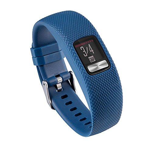 Questionno Silicone Wrist Band Bracelet Strap for Garmin VivoFit 4 Watch(Dark Blue L)