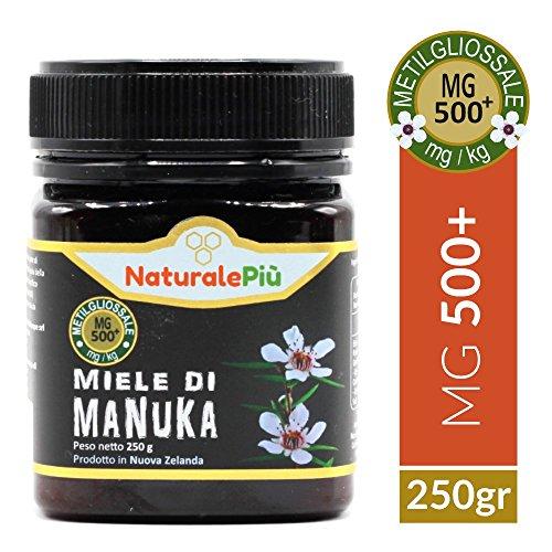 Miele di Manuka 500+ MGO 250 gr | Prodotto in Nuova Zelanda, Attivo e Grezzo, Puro e Naturale al 100% | Metilgliossale Testato |