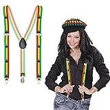 NET TOYS Tirantes Jamaica Elásticos Reggae Sujeciones Hippies Elementos de sujeción Pantalones con Forma Y Sujeciones cáñamo Hombre Accesorio Disfraz Rastafari