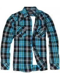 Chemise à carreaux Yves Enzo - Bleu