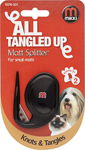Mikki Dog Puppy and Cat Matt Splitter – Removes Knots and Matts Dematting and Detangler Tool