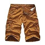 GreatestPAK Pants Cargo-Shorts der Tarnung-Männer beiläufige im Freien Taschen-Strand-Arbeits-Hosen-Hose,Gelb,36