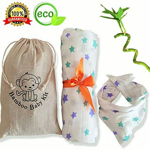 Bamboo Baby Kit: Copertina XL In Mussola + Bavaglino 100% Cotone Bamboo. Busta Porta Pannolini Omaggio. Set Regalo Originale Neonato Mamma Lista Nascita Swaddle Lenzuolino Bambino Ecosostenib