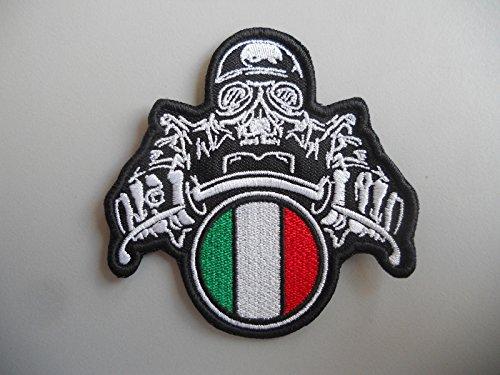 PATCH,TOPPA RICAMATA PATCH,, PATCH MOTO TESCHIO CON CASCO ITALIA RICAMATA TERMOADESIVA CM.8X8 -1209 REPLICA