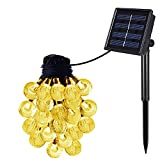 OxyLED Solar String Lights Indoor and Outdoor,(20Ft,2 Modes,30 LED) Warm White Crystal Ball,Globe Fairy String Lights,Starry Lights,Led String Lights for Garden,Home,Wedding,Patio,Summer/Holiday Party