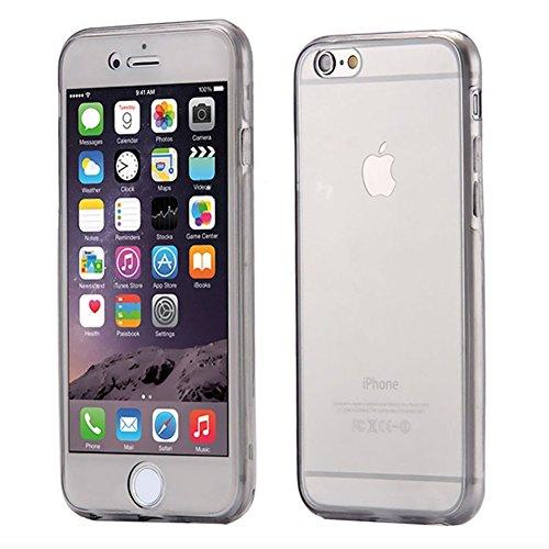Etsue TPU Schutzhülle für iPhone 7 Silikon Handyhülle,360 ° Komplettschutz Handy-Hülle Vorder- und Rückseiten Schutzhülle Cover Touchscreen TPU Silikon Transparent Klar Kristall Durchsichtig Kratzfest 360°Schutz:schwarz