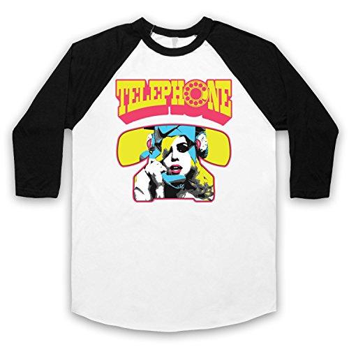 Inspiriert durch Lady Gaga Telephone Beyonce Knowles Unofficial 3/4 Hulse Retro Baseball T-Shirt Weis & Schwarz