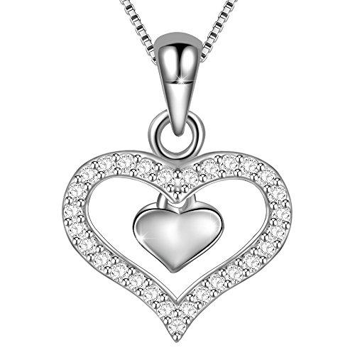 Dawanza-Muttertag Geschenk Halskette Frauen 925 Sterling Silber-Anhänger mit-Zirkonia Liebe in der Tiefe meines Herzens-Modischer Schmuck