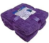 A-Express Chaude Violet 200cm x 240cm Doux Confortable Teddy Sherpa Couverture Polaire Throw Plaid