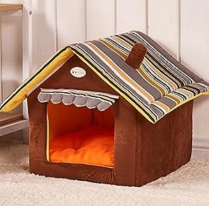 Hianiquaime® Belle Maison Niche de Chien avec Coussin Amovible Lit Panier pour Chiot Chien Chat etc S/M/L