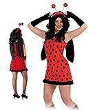 """Damen-Kostüm """"Flotter Käfer"""", Marienkäferkleid mit Flügeln rot-schwarz (36)"""