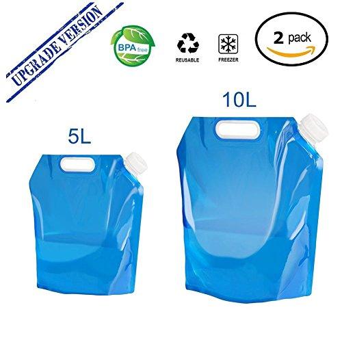 AINOLWAY Faltbarer Wasserbehälter, 5L + 10L 2Pack im Freien faltender Wasser-Beutel-Behälter BPA-freier ungiftiger geruchloser Wasser-Speicher-Beutel für kampierendes wanderndes Picknick BBQ faltbares Blau (10l Wasser)