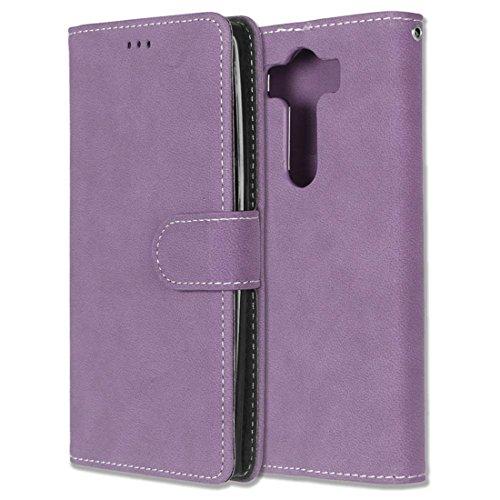 LG V10 / H900 H960 Hülle, Chreey Matt Leder Tasche Retro Handyhülle Magnet Flip Case mit Kartenfach Geldbörse Schutzhülle Etui [Lila] - Aluminium-sicherheits-geldbörse