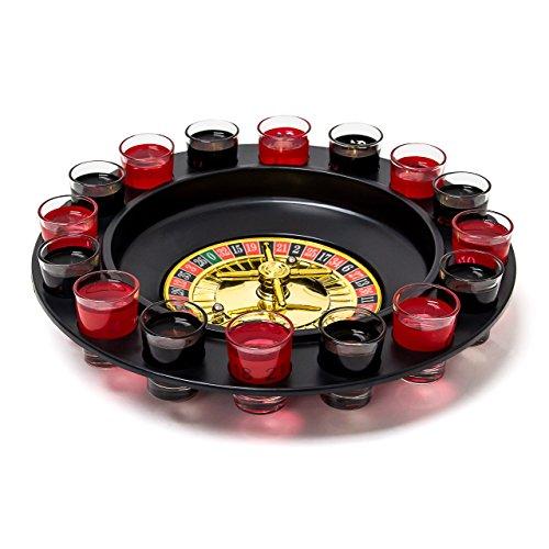 Relaxdays Partyspiel Trink-Roulette Set mit 16 Schnapsgläsern als Partyspaß für Erwachsene Trinkspiel in Form des klassischen Glücksspiels wie im Casino ab 2 Spielern als lustiges Schnaps-Roulette