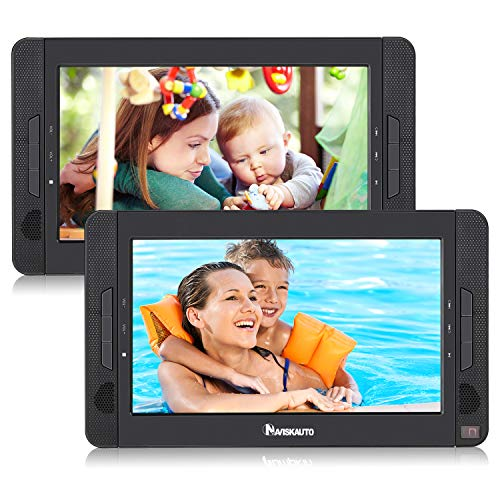 NAVISKAUTO 2 Auto DVD Player 10,1' Tragbar DVD Player Kopfstütze 1024*600 HD Doppel Player 5 Stdn.Akku SD/USB AV IN/Out 12V