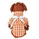 YWLINK Haustier Hunde Katze Sommer Kariertes RüSchen Hemdkleid Atmungsaktive Bogen Prinzessin Shirt Retro Elegant Party Kleidung (Orange,XL)