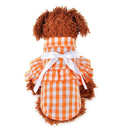 YWLINK Haustier Hunde Katze Sommer Kariertes RüSchen Hemdkleid Atmungsaktive Bogen Prinzessin Shirt Retro Elegant Party Kleidung (Orange,S)