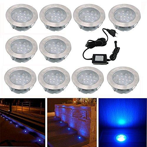 10x Lampe de Spot Encastrable LED pour Terrasse Enterre Plafonnier, 110lm DC12V IP67 Etanche Ø60mm Acier inoxydable avec Alimentation EU Exterieur luminaire Eclairage Décoration pour Jardin Chemin Couloir Bassin Piscine, Bleu