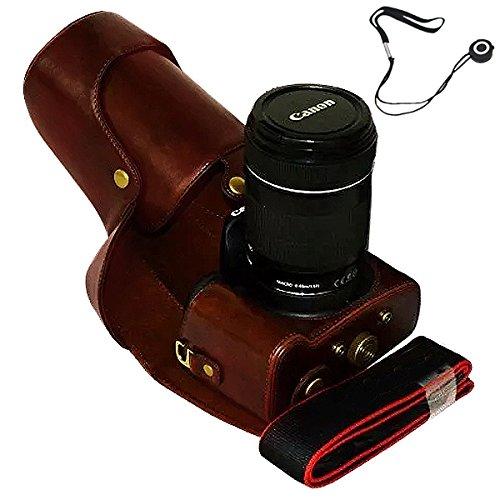 aun Ganzkörper-präzise Passform PU-Leder Kameratasche Fall Tasche Cover für Canon 700D 650D 600D Rebel T5i T4i T3i 18-55mm 18-135mm 18-200mm Lens mit Anti-verlorene Seil ()