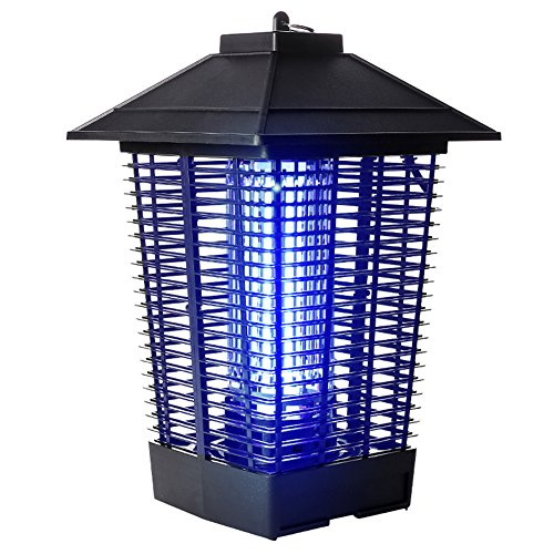 LIQICAI Lámpara del Mosquito Portátil Luz Ultravioleta para Seducir A Los Mosquitos Choque Eléctrico, Matar, Insecto Toma 220V Anillos Colgantes para Jardín Al Aire Libre (Color : Negro)