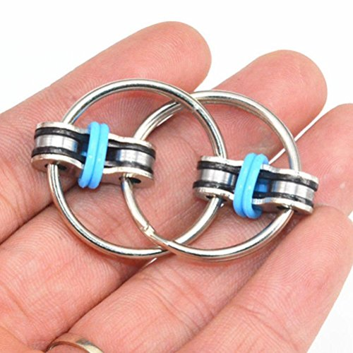 Transer Stress Reliever Toys- Chain Fidget Toy Hand Spinner Key Ring Sensory Toys Stress Relieve ADHD Top ZZY (Blue)