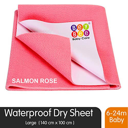 BeyBee Waterproof Baby Bed Protector Dry Sheet for New Born Babies (Large (140cm X 100 cm), Salmon Rose)