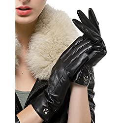 Nappaglo - Guantes de piel de cordero italianos para mujer (pantalla táctil o pantalla no táctil) Negro Black (Touchscreen) Medium