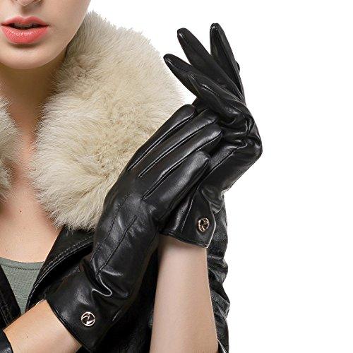 Nappaglo Damen klassische Lederhandschuhe Touchscreen Italienisches Lammfell Winter Warm Reines Kaschmir-Futter Handschuhe (L (Umfang der Handfläche:19.0-20.3cm), Schwarz(Touchscreen)) (Lammfell-futter)