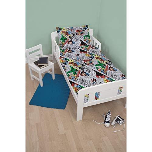 Unbekannt 4-in-1-Bettwäsche-Set, für Kinderbett, Einzelbett, Bettdecke und Kissen, für Jungen und Mädchen, Marvel Avengers Retro 4.0 Tog, Junior/Toddler/Cot Bed