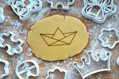 Origami Boot 8cm Präge-Ausstecher Ausstechform 3D Keksausstecher Papierschiff Backen Plätzchen Cookie Cutter Fondant Cookies Ausstechformen