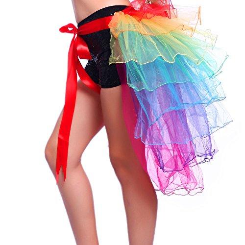 Moresave Donne Danza Arcobaleno Pizzo Tulle Tutu pannello esterno del partito da sera di Clubwear - Arcobaleno Classico Filato