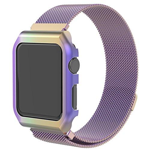HappyTop Apple Watch 1/2/3 Armband Ersatz mit Metall-Halter, 38/42mm Milanese Magnetic iWatch Band (Regenbogen, 42mm)